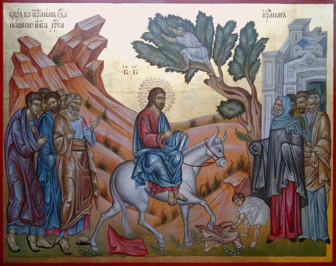 "The Lord's Entry Into Jerusalem, icon hand painted, ""Palm Sunday"", church iconography, Feasts icons"