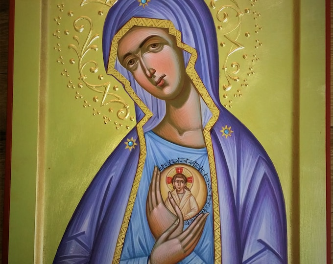 Icon of Our Lady of Fatima, Most Holy Theotokos, Byzantine, christian, orthodox icon, iconography  Virgin Mary, Mother of God