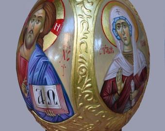 Hand painted Ostrich Egg, Egg icon, Easter gift, orthodox gifts, orthodox icon, Painted Egg, Byzantine art, religious art, christian gift