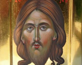 The Holy Mandylion of Christ, miniature orthodox christian icon of Jesus Christ, hand painted, mini shrine icon, religious gift