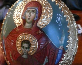 Painted Egg, Egg Art, Mother of God, Our Lady, iconart, orthodox icon egg, byzantine art