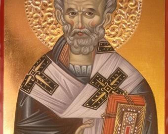 St. Nicholas, Orthodox icon hand-painted, Byzantine icon, iconography