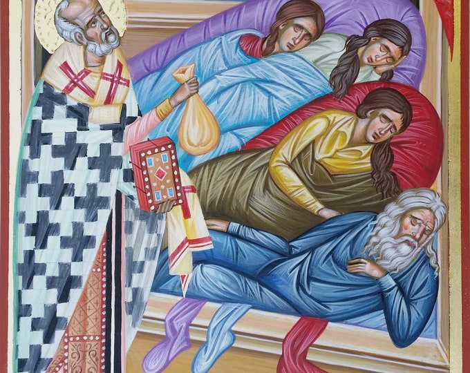 St. Nicholas, The Miracle of Saint Nicholas and the Virgins, Orthodox icon hand-painted, iconography