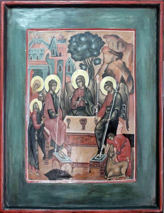 Old Testament Trinity, religious icon, iconography, The Hospitality of  Abraham, Orthodox Christian Icon, hand painted, Byzantine, Greek, art