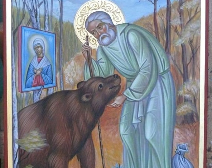 St. Seraphim of Sarov, icon hand painted, Orthodox Saints Icons, order icon hand painted