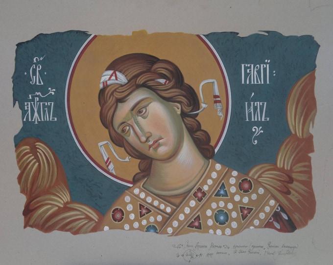 Saint Archangel Gabriel, Byzantine, christian wall art, cardboard art, orthodox gift, angel, angel wall decor, guardian angel, art for sale