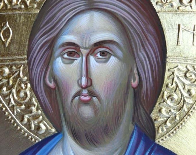 "Jesus Christ ""Pantocrator"" icon, hand painted, byzantine art, Greek icon, Jesus icon, orthodox gift, iconography, religious gift"
