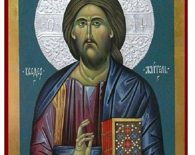 Christ Pantocrator, The Lord Jesus Christ, Hand Painted Orthodox Icon, Church icon, byzantine iconography, large icon