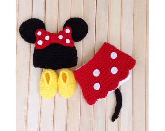 Crochet Minnie Mouse Newborn Outfit