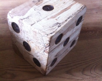 Wooden block dice carving