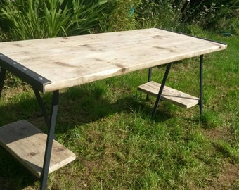 Industrial style office desk made to your mearements on trestle legs with under dest storage shelves