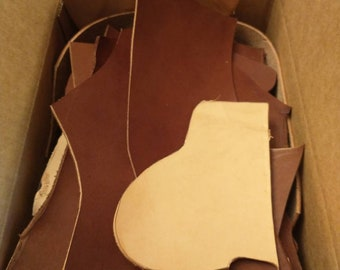 4lb Box 8oz Leather Remnants - Black, Brown and Oak