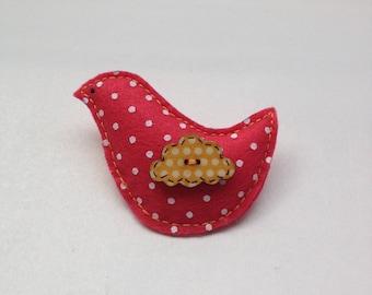 Red bird brooch/felt brooch/polka dot brooch/cute brooch/gift for her