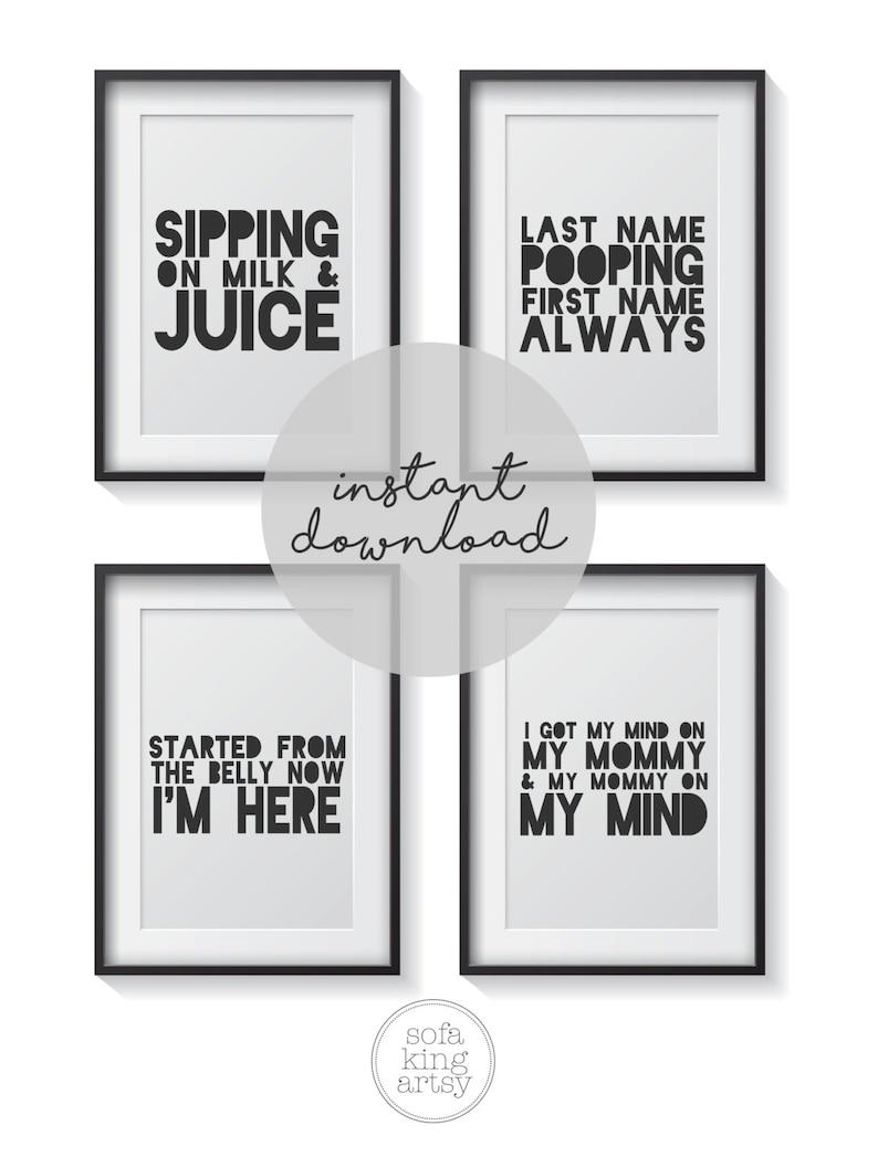 Printable Hip Hop Nursery Art  Hip Hop  Baby Art  Rap Lyrics  Printable  Nursery Art  black text