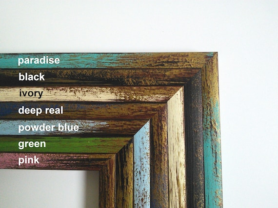 A5 Size Handmade Green Wooden Picture Frame With Mount