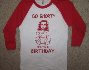 34 sleeve go shorty its your birthday christmas t shirt ugly xmas sweater party holiday tee raglan baseball style top baby jesus awesome
