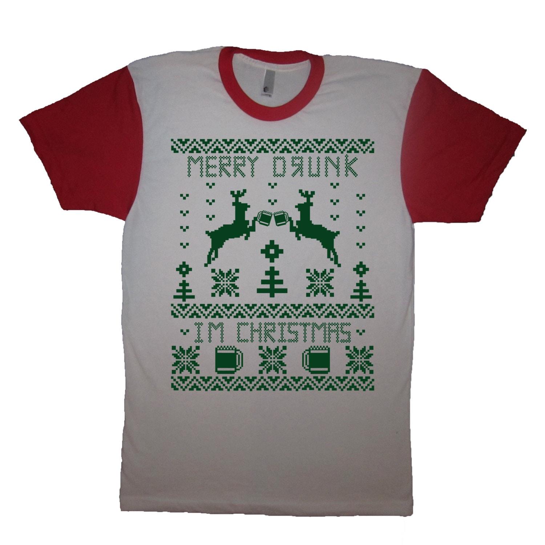 Frohe betrunken bin ich Weihnachten t Shirt lustige Ferien | Etsy