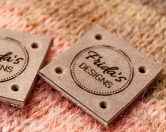 Clothing leather labels - leather tags - leather labels - knitting labels - crochet labels - clothing tags - logo branding  tags, set of 25