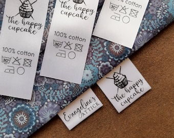 Custom clothing labels 50 pc, satin labels, personalized care instructions labels, tags for handmade items, sew on labels, sewing labels
