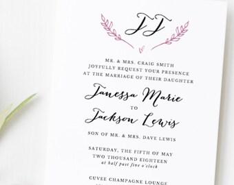 Rustic Wedding Invitation Template, Printable Wedding Invitation Suite, Monogram Wedding Invitation Set, DIY Wedding Invitations