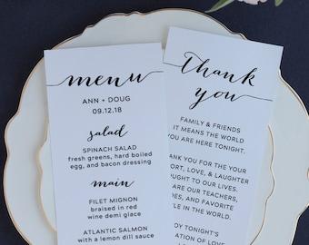 Wedding Thank You Card Template, Thank You Printable, Personalized Wedding Table Thank You, Reception Decor, 4x9 Wedding Seating Card