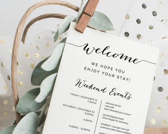 Printable Wedding Itinerary Template Weekend Timeline Destination Welcome Bags