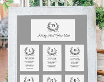 Gold Wedding Seating Chart Template, Wedding Seating Chart Printable, Rustic Wedding Seating Cards, Seating Plan, Seating Chart Signs, 5x7