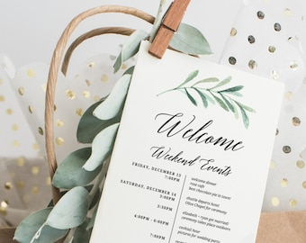 itinerary template, wedding itinerary, wedding timeline, itinerary, wedding welcome, printable itinerary, wedding schedule, welcome bag