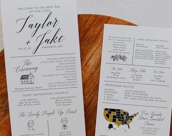 infographic wedding program template, fun wedding programs, non traditional wedding program, 100% editable in templett