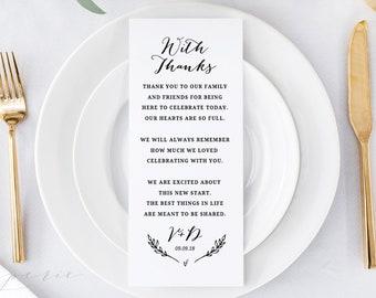 Wedding Thank You Card Template, Thank You Printable, Personalized Wedding Table Thank You, Reception Decor, 100% Editable in Templett