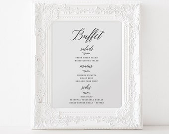 printable wedding menu sign calligraphy script wedding menu