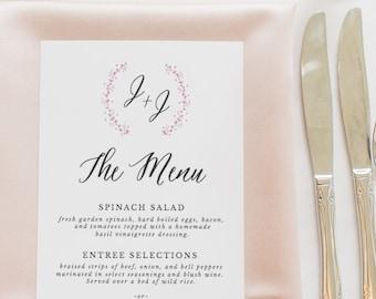 Rustic Wedding Menu Template, Printable Wedding Menu, Menu Cards, Wedding Dinner Menu, 100% Editable in Templett