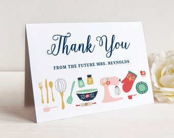 bridal shower thank you cards printable bridal shower thank you card future mrs thank you card editable in templett kitchen shower