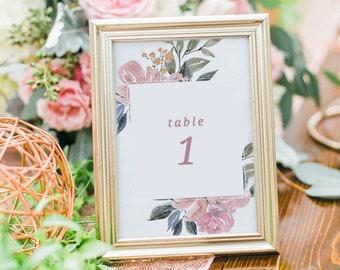 Printable table numbers, Table numbers printable, Wedding table numbers, Printable wedding table numbers, Floral table numbers