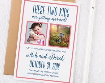 Printable Wedding Rehearsal Dinner Invitations, These Two Kids Are Getting Married, Rehearsal Dinner, Wedding Rehearsal Invitation Template