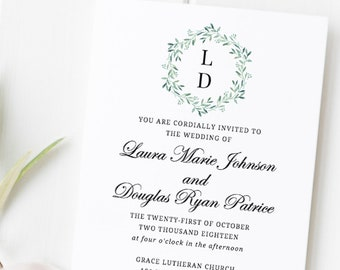 greenery wedding invitation template printable wedding etsy