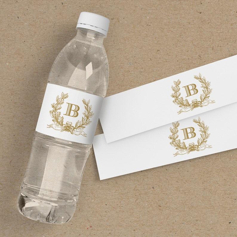 gold water bottle labels wedding, custom water bottle labels, wedding gift  bags ideas, wrap around labels, monogram, editable in TEMPLETT