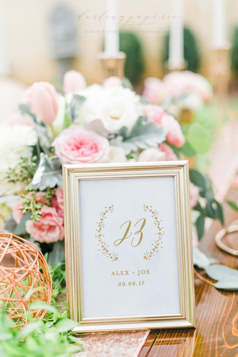 Gold Wedding Table Number Table Number Cards Printable image 0