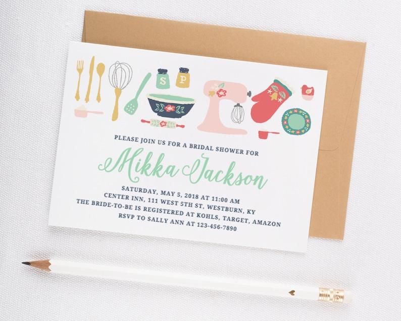 0a2754bf45a Kitchen Theme Bridal Shower Invitation Printable Bridal