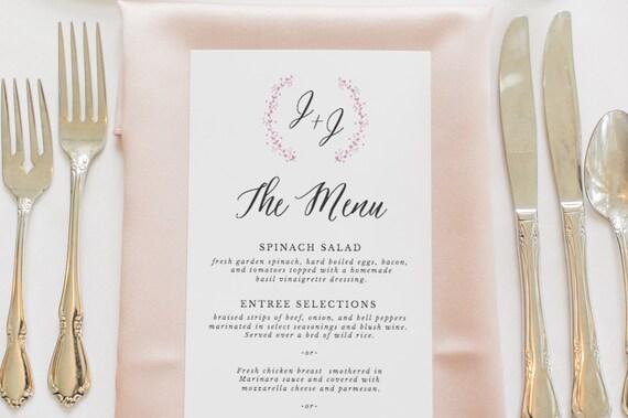 rustic wedding menu template printable wedding menu menu etsy