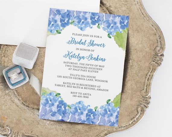 Bridal Shower Invitation Template Blue Floral Invitation Etsy