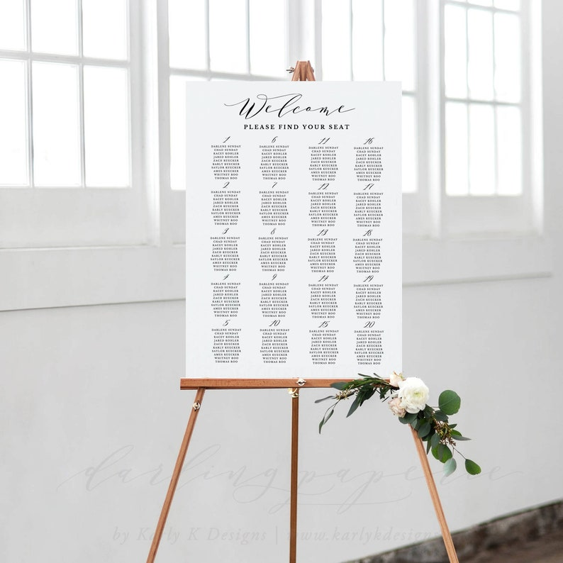 Wedding Seating Chart Template Wedding Seating Chart Poster Wedding Seating Chart Printable Alphabetical Find Your Seat Seating Board