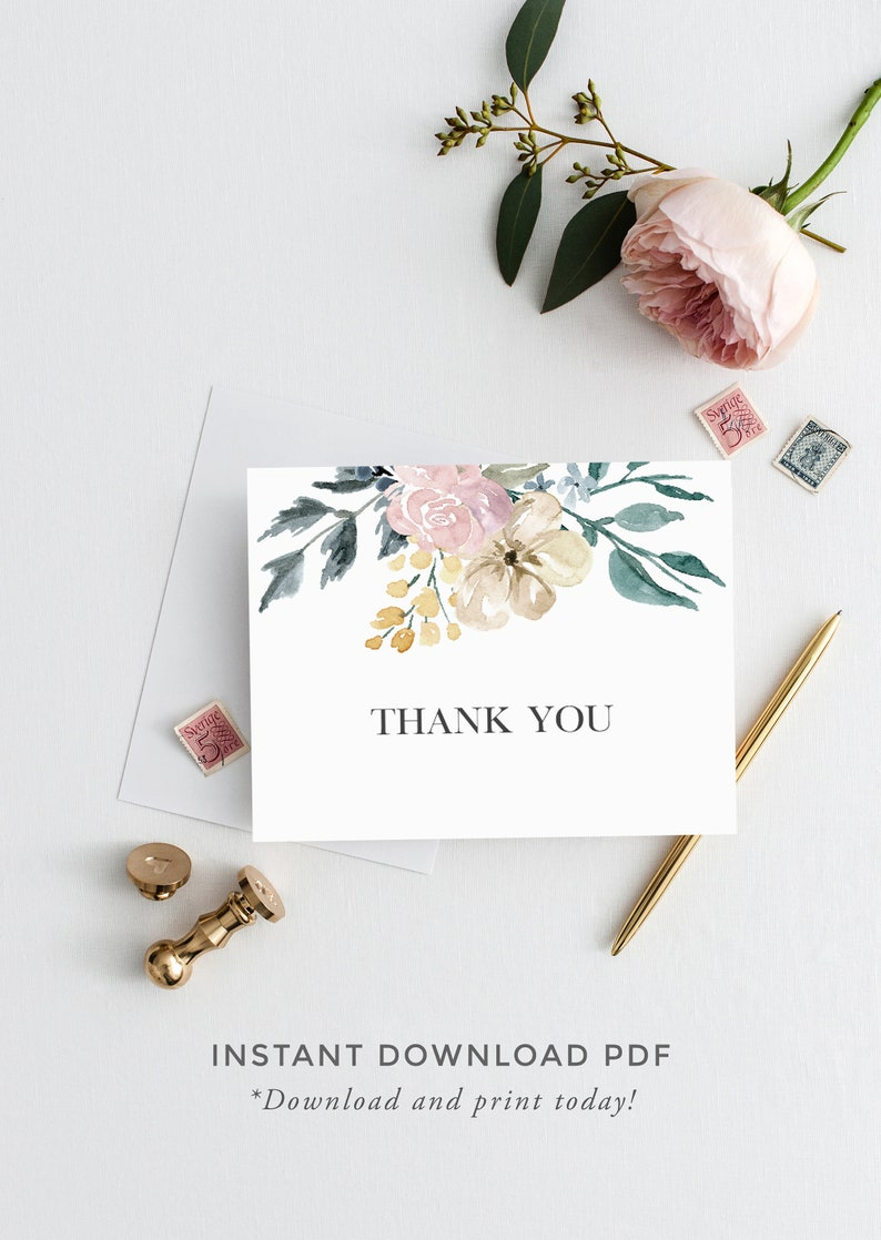 photo about Printable Baby Shower Thank You Cards called Thank Your self Playing cards for Little one Shower, Printable Youngster Shower Thank Oneself, A2 Folded, Instantaneous Obtain, Floral Thank Your self Notes, Backyard garden Youngster Shower