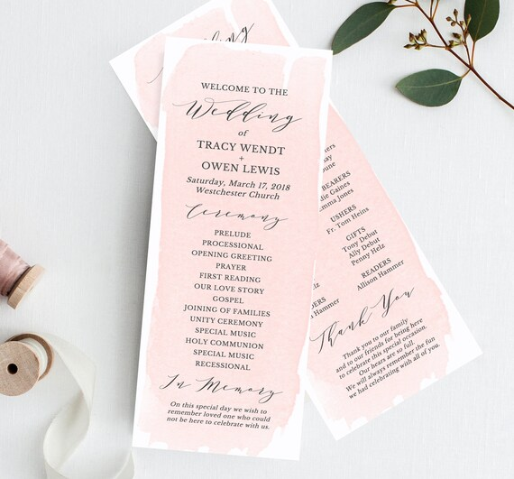 blush wedding program template wedding programs ceremony etsy