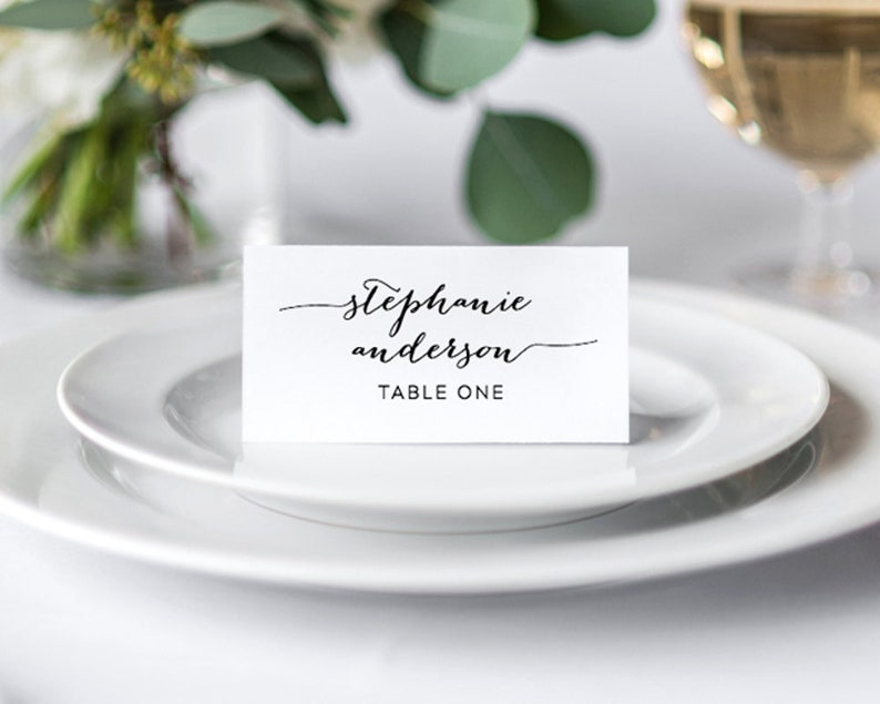 calligraphy Place Card Template, Printable Place Cards, Wedding Place  Cards, Name Cards, Escort Cards, Wedding Place Cards with Meal Choices