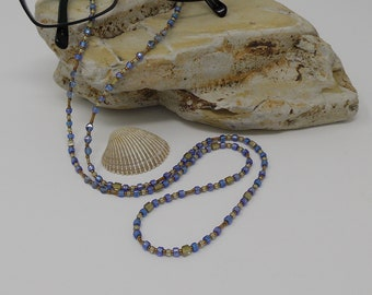 Blue and Taupe Beaded Eyeglass Chain