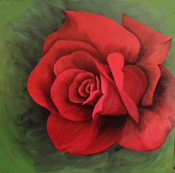 Peinture De Rose Peinture Peinture De Tatouage Rose Etsy