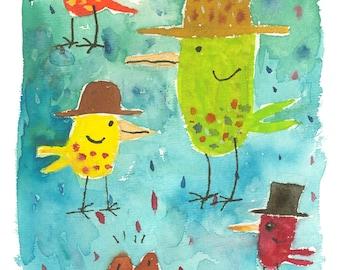 Birds in Hats Blank Notecard - New!