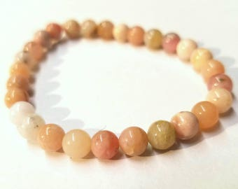 "7"" Peruvian Pink Opal Beaded Stretch Bracelet"