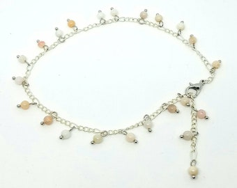 """11"""" Cute Peruvian Pink Opal Silver Anklet - Summer Body Bling"""